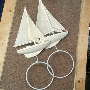 Sailboat decorative hand towel rings holder -Pair